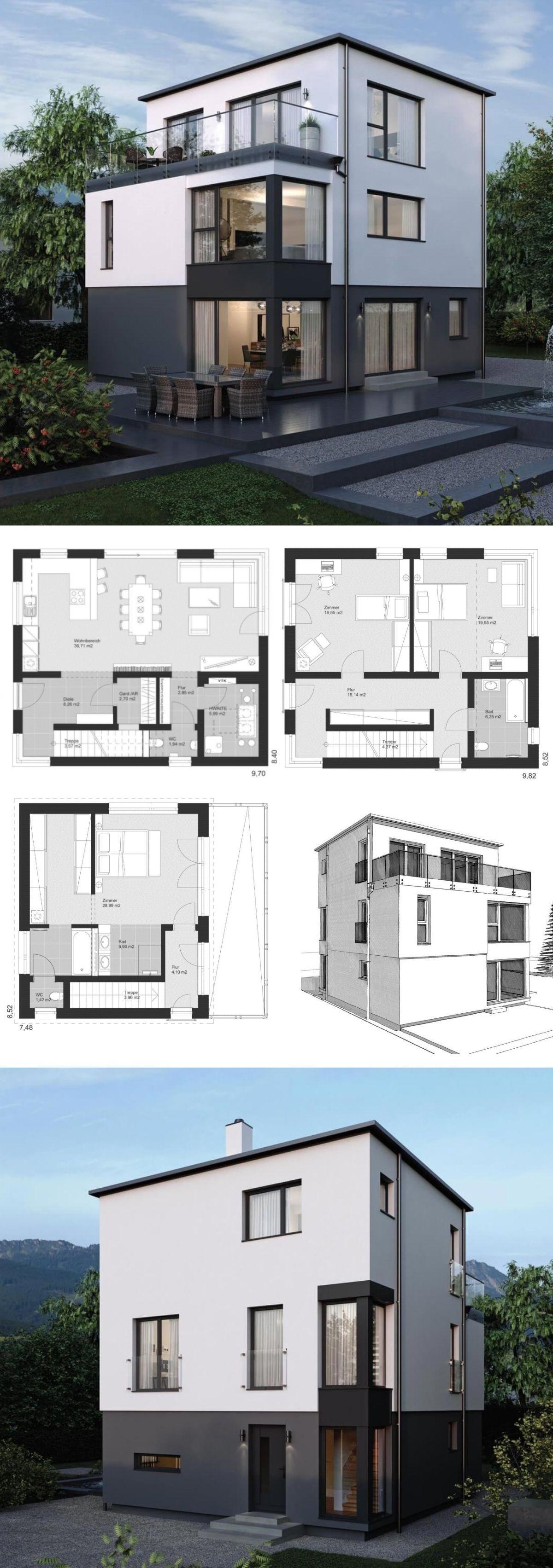 Einfamilienhaus Neubau Modern Mit Flachdach Architektur U0026 3 Vollgeschosse    Fertighaus Bauen Grundriss Ideen ELK Haus