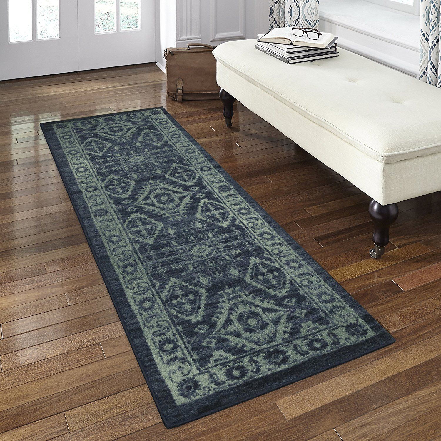 Maples Rugs Runner Rug Georgina 2 X 6 Non Skid Hallway Carpet Entry Rugs Runners For Kitchen And Entryway 2 X 6 Navy Blue G Maples Rugs Area Rugs Indoor Rugs