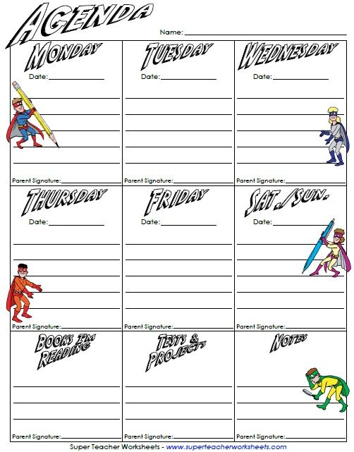 Homework Agenda Page - Super Heroes! | Super Teacher Worksheets