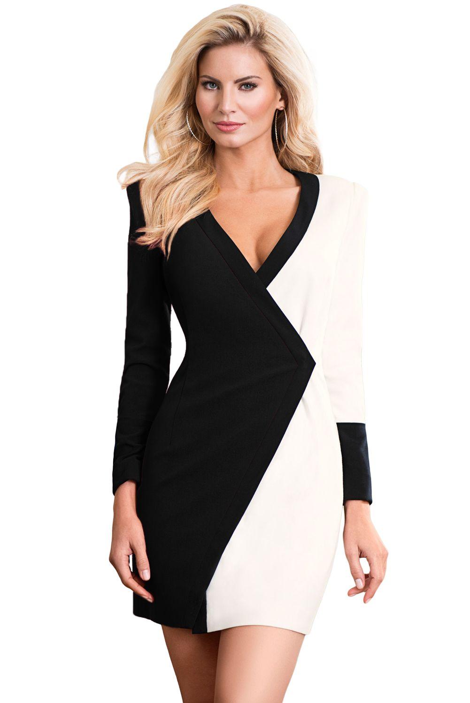 Black white color block faux wrap mini dress in 2020