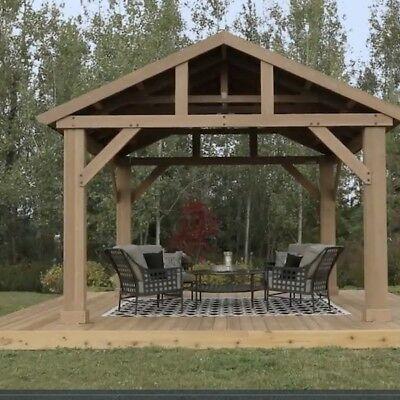 Best Details About Outdoor Wooden Gazebo 14X12 Pavilion Metal 400 x 300