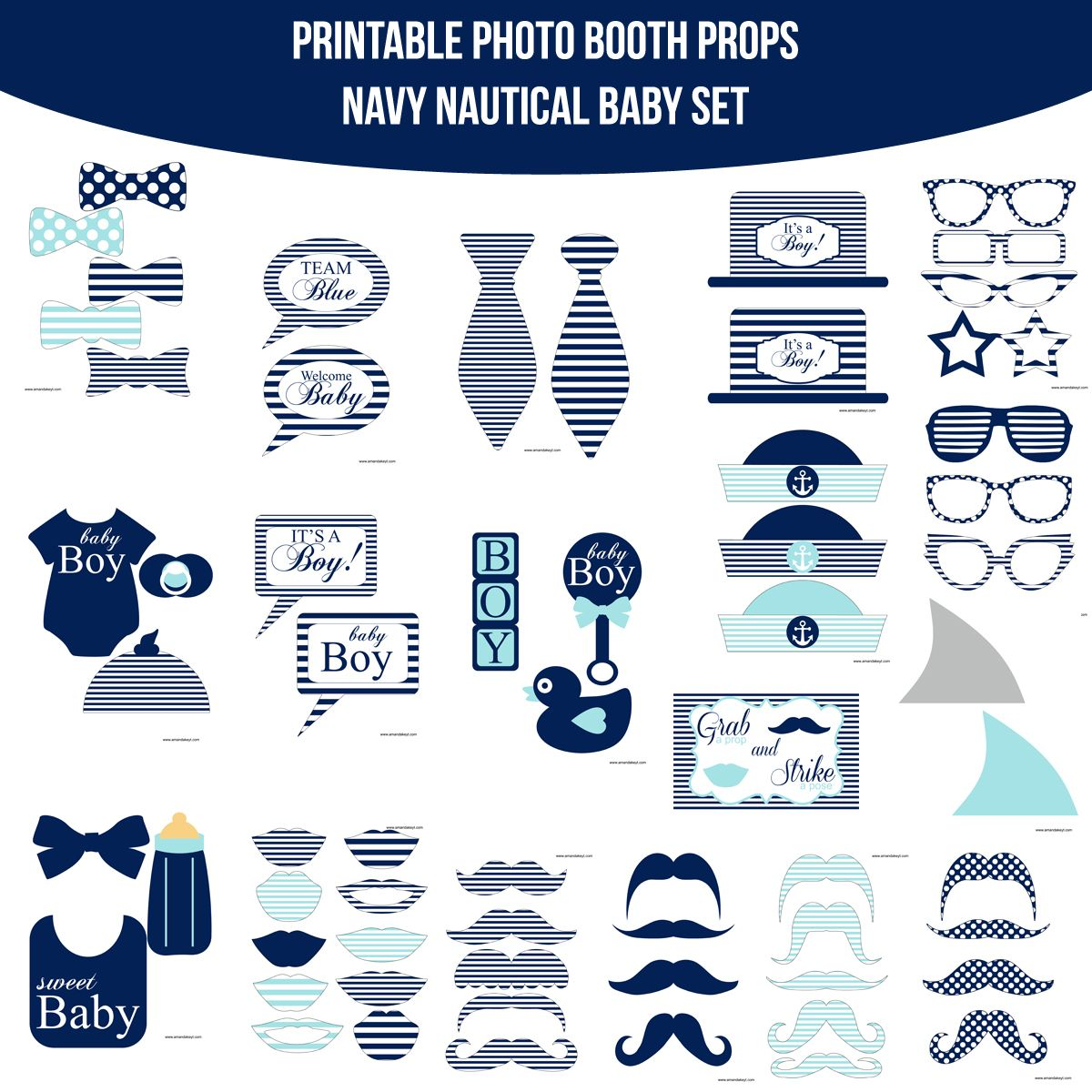 Instant Download Baby Nautical Navy Printable Photo Booth Prop Set