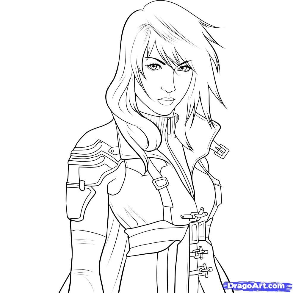 How to draw lightning final fantasy xiii step 10 1 for Final fantasy coloring pages