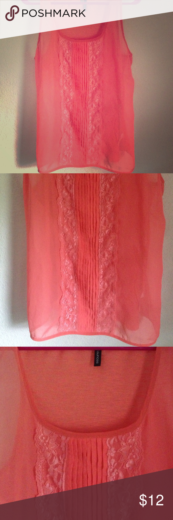 Maurice's sheer tank Coral colored sheer tank with lace design up the front Maurices Tops Tank Tops