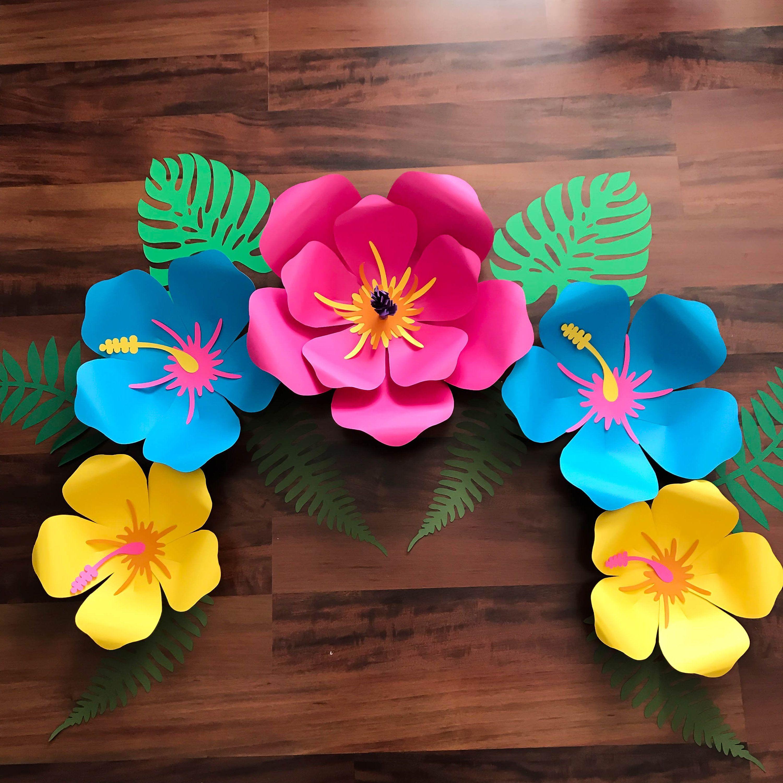 SVG DXF PNG Petal  Hibiscus Paper Flower Template Diy Cricut