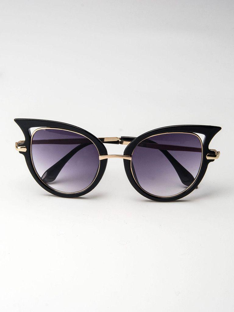 Black Cat Eye Mirror Sunglass