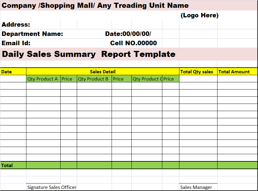 daily sales summary report template