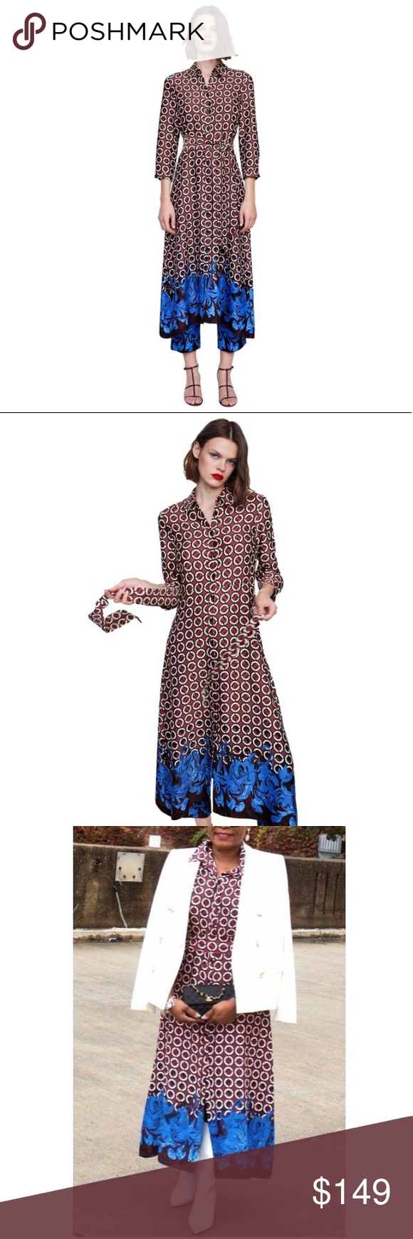Zara Geometric Floral Print Tunic Maxi Dress Zara