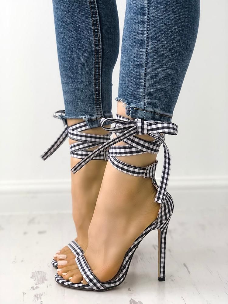 e9939fef4a2 Shop Single Strap Peep-toe Lace Up Summer Sandals – Discover sexy women  fashion at Boutiquefeel