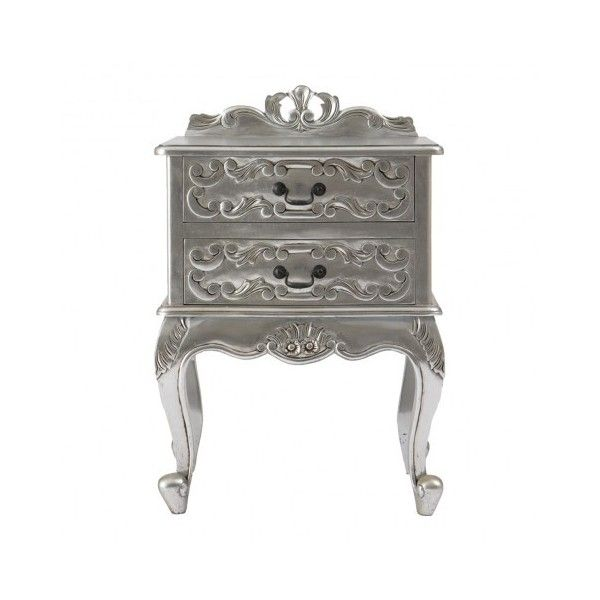 Rococo Silver Leaf Bedside Table (12.015 CLP) ❤ Liked On Polyvore Featuring  Home,