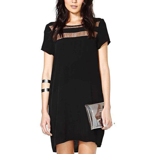 Yoins Black Chiffon Dress ($20) ❤ liked on Polyvore featuring dresses, black, transparent dress, sheer chiffon dress, see through dress, chiffon dress and sheer dress