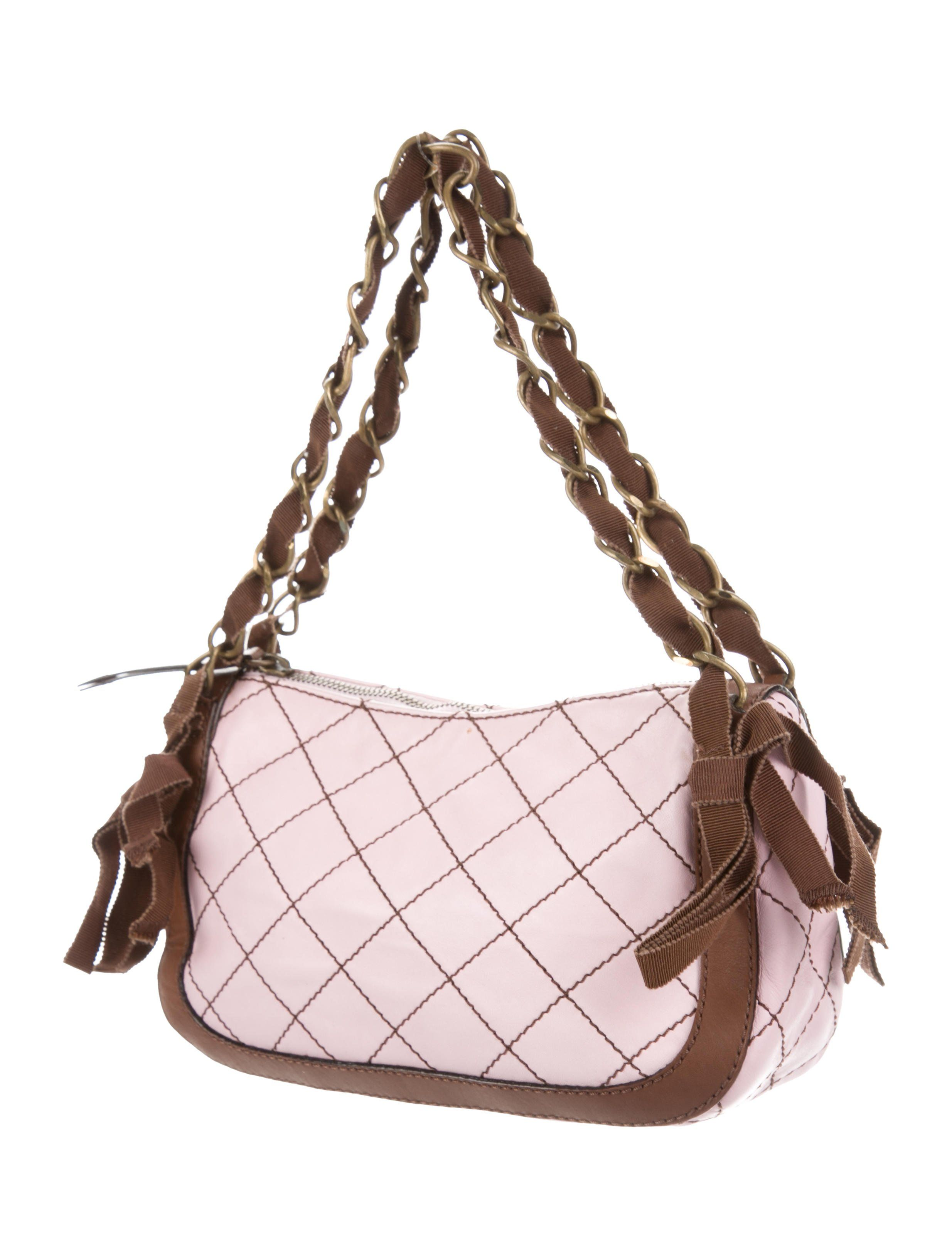 df385d4c6d9 Pink quilted leather Moschino Cheap and Chic shoulder bag with antiqued  gold-tone hardware, dual woven chain-link straps featuring grosgrain tassel  accents, ...