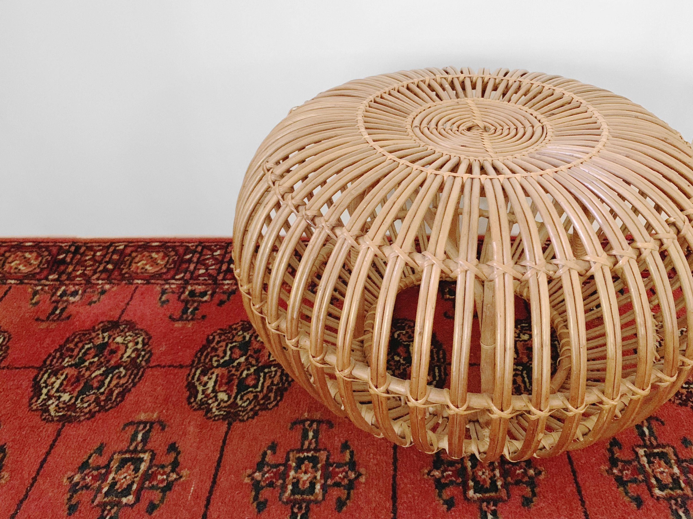 Superb Vintage Franco Albini Large Round Rattan Ottoman Footstool Ibusinesslaw Wood Chair Design Ideas Ibusinesslaworg