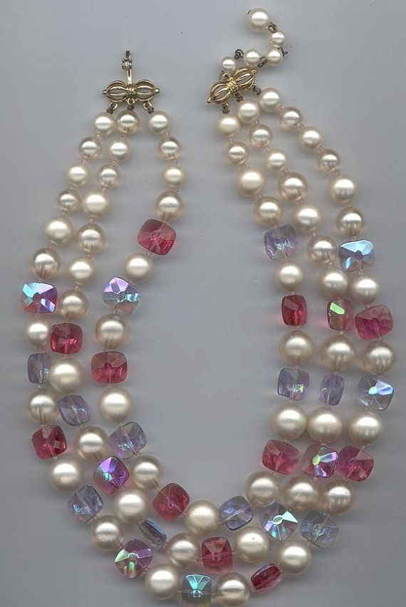 Vintage Necklace and Earrings Clear Glass and Faux Pearl Beads Choker Marvella Clip on Earrings 1950/'s Button Earrings