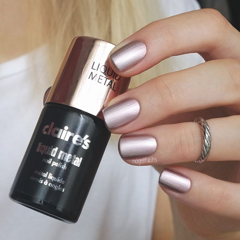 Nailpolis Museum Of Nail Art Claire S Liquid Metal Rose Gold Swatch By Nagelfuchs