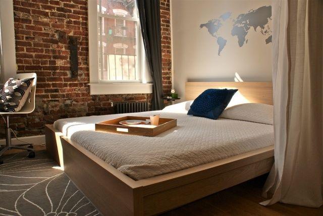 muster wand schablonen weltkarte schlafzimmer holz bett | zu hause, Schlafzimmer ideen