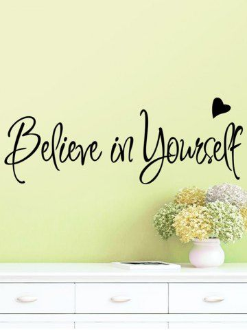 black believe in yourself inspirational slogan wall sticker 56*20cm