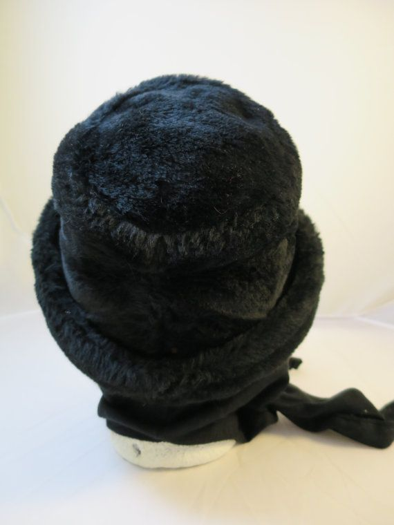 Vintage Black Plush Hat Scarf Ties Rolled Brim Faux Fur Look 1970s Ear Warmer Hat Black Plush Fur Look Vinyl Band Union Made USA Size 6