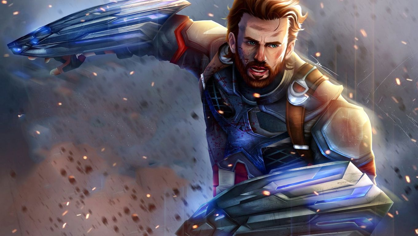 1360x768 Captain America In Avengers Infinity War Artwork Laptop Hd Hd 4k Wallpapers Images Captain America Artwork Captain America Wallpaper Captain America