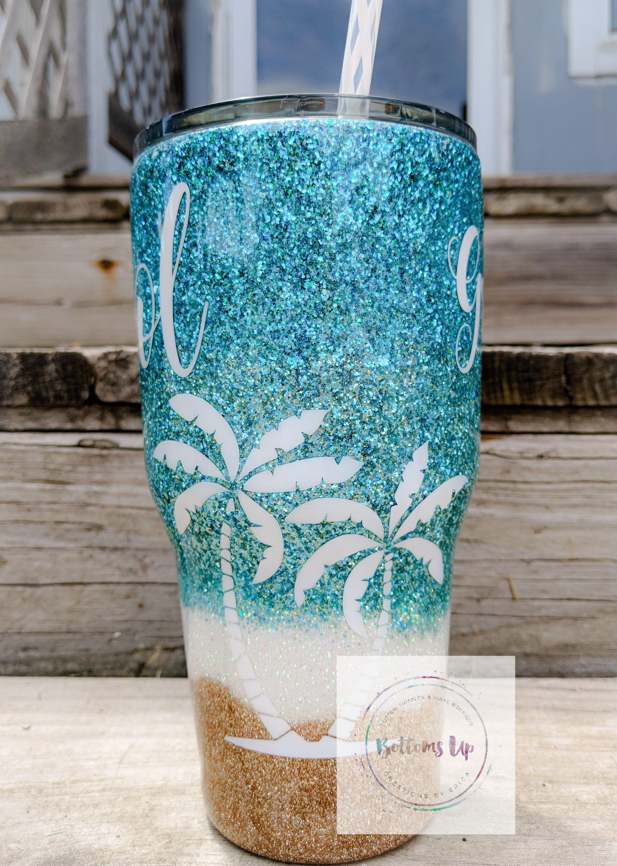 Glittered beach tumblerbeach tumblerglitter tumbler