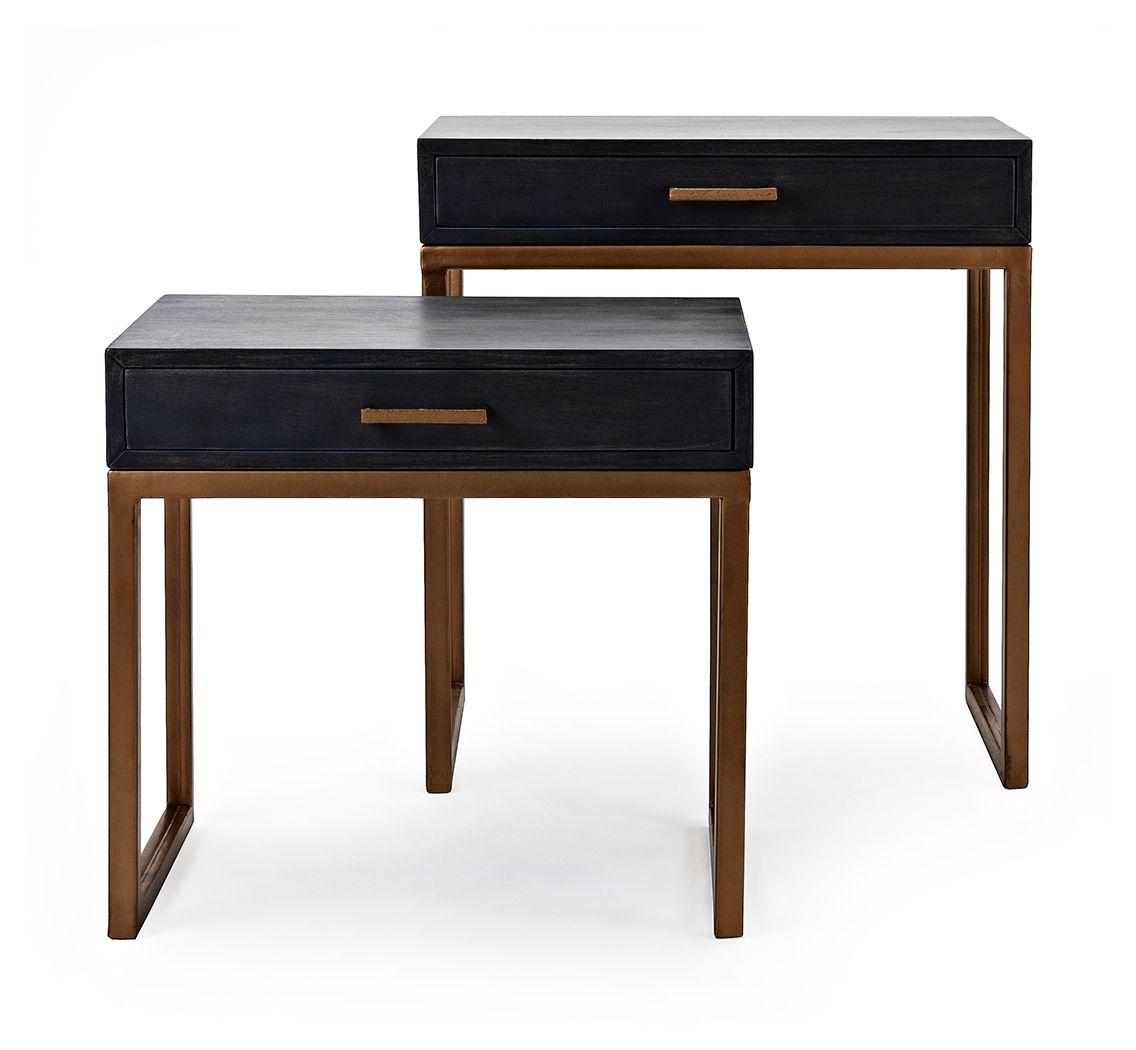Kairi Cash Wood Side Tables Set Of 2 Side Table Wood Grey
