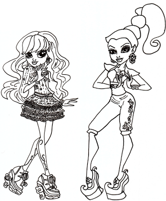 Free Printable Monster High Coloring Pages: Twyla and Gigi Coloring ...