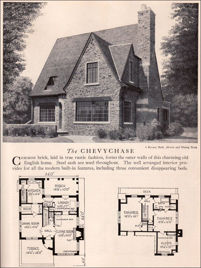 chevychase house plan vintage american architecture 1929 home builders catalog english revival house - Brick English Home Plans