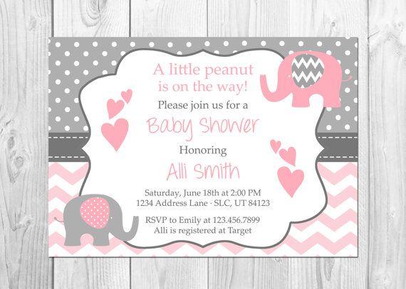 Elephant Baby Shower Invitation It S A Girl Chevron