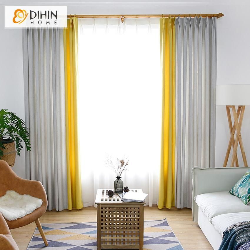 Dihin Home Modern Light Grey And Yellow Spliced Curtains Blackout Grommet Window Curtain For Living Room 52x63 Inch 1 Panel Curtains Living Room Grey Curtains Living Room Curtains