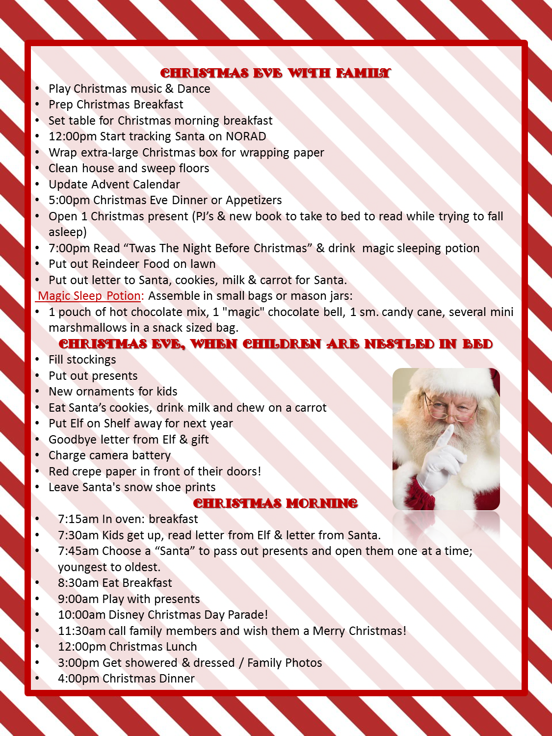 Christmas Eve & Christmas Day To Do List with kids- Everyday is a ...
