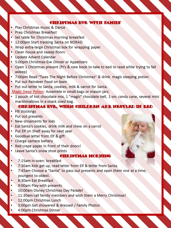 Christmas Eve & Christmas Day To Do List with kids
