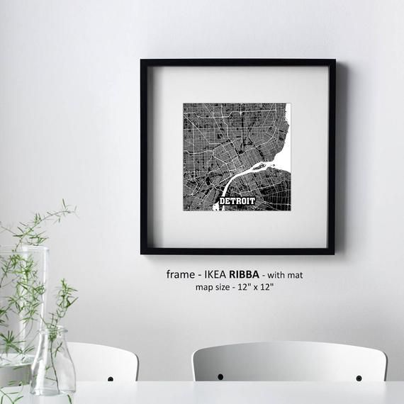 Detroit Michigan Map Print Detroit Square Map Poster Detroit Wall Art Detroit t Custom Personalized map