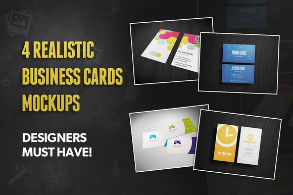 4 Realistic Business Card Mockups by Rafael Oliveira on @creativemarket