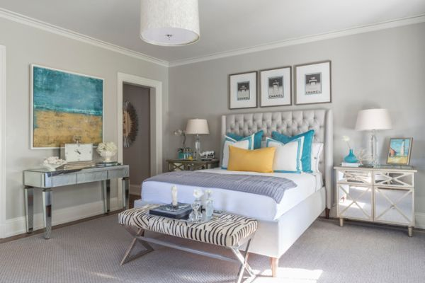Here Gray Was Used As A Main Color And Turquoise Accents Complement It