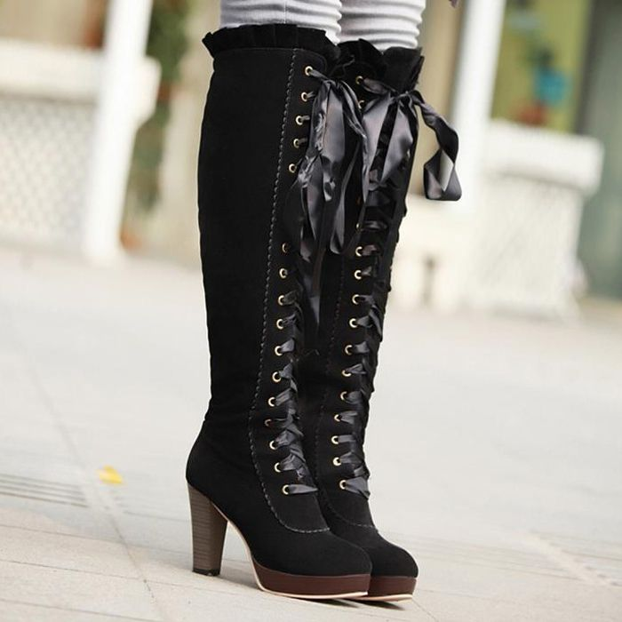 black knee hi suede boots lace up front no open toe | Women ...