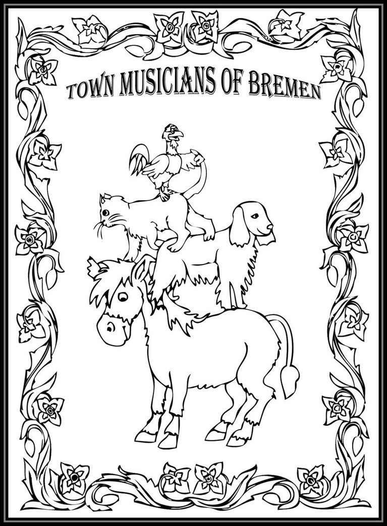 Town musicians of bremen storybook coloring page by fractalbee