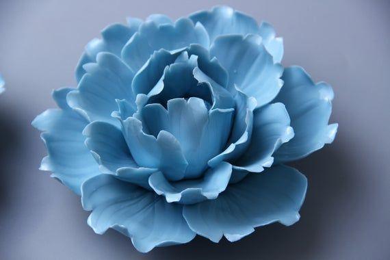 Wall Hanging Ceramic Sculpture Art, Ceramic Flower Wall Tile, Blue Peony Wall Art, Organic Design, Ceramic Decor, Home Decor, Xmas Decor #bluepeonies