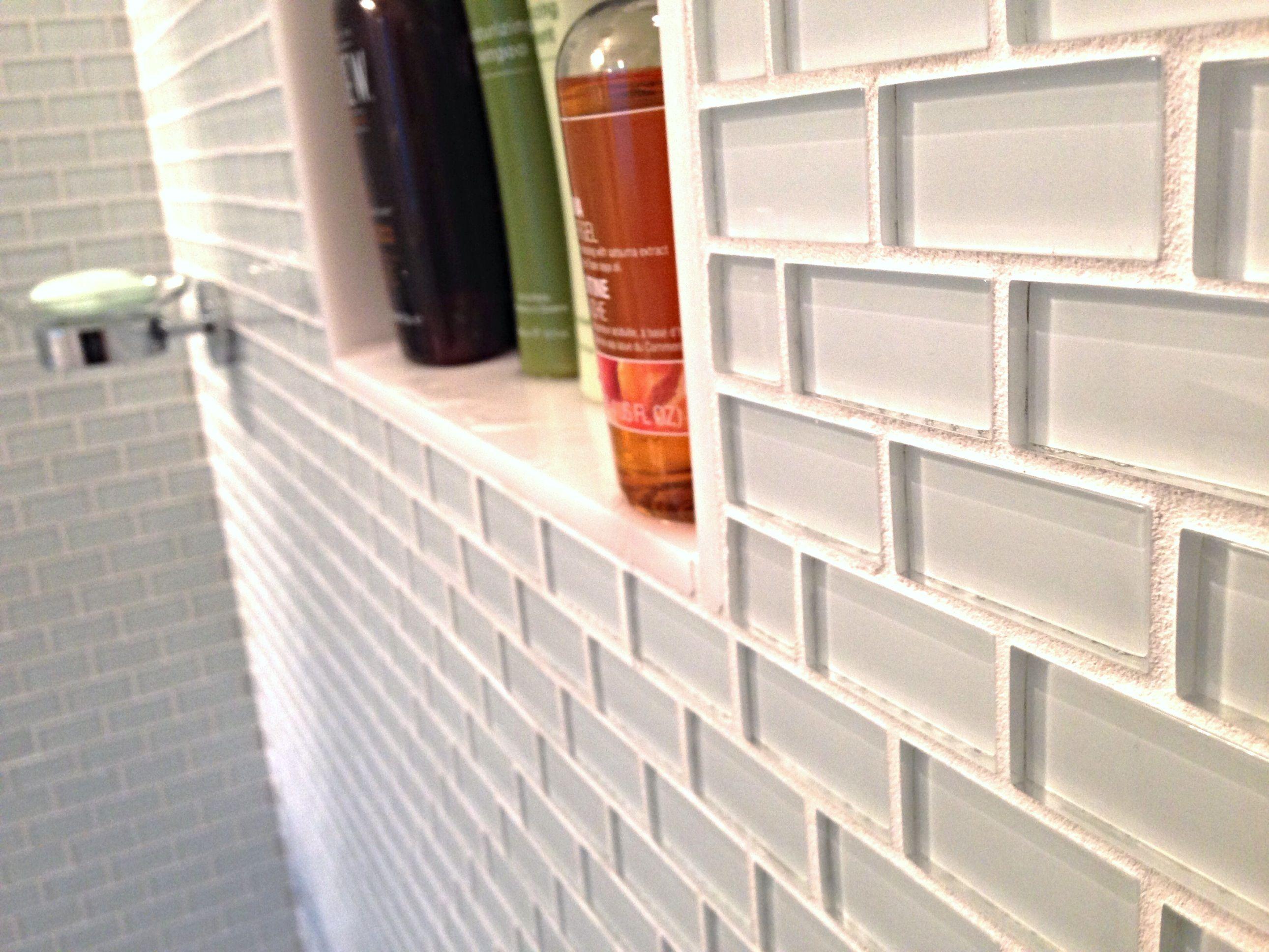 White 1x2 Mini Glass Subway Tile White Subway Tile Shower Subway Tile Showers Shower Tile