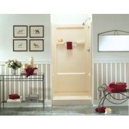 I like the punches of red with the grey.  I am looking for a new paint color for my bathroom that will go with my almond shower stall.