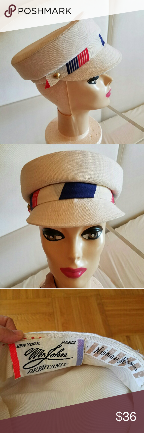 "Amazing 60s vintage stewardess uniform cap Mr. John Debutante sold by Neiman Marcus - true vintage uniform-style cap with red/blue accent band and gold tone buttons. White/cream linen. Excellent condition small brim, 6 3/4"" inside diam Vintage Accessories Hats"