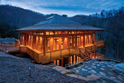 On a mountain ridge in North Carolina is a home that would look comfortable in the Land of the Rising Sun.