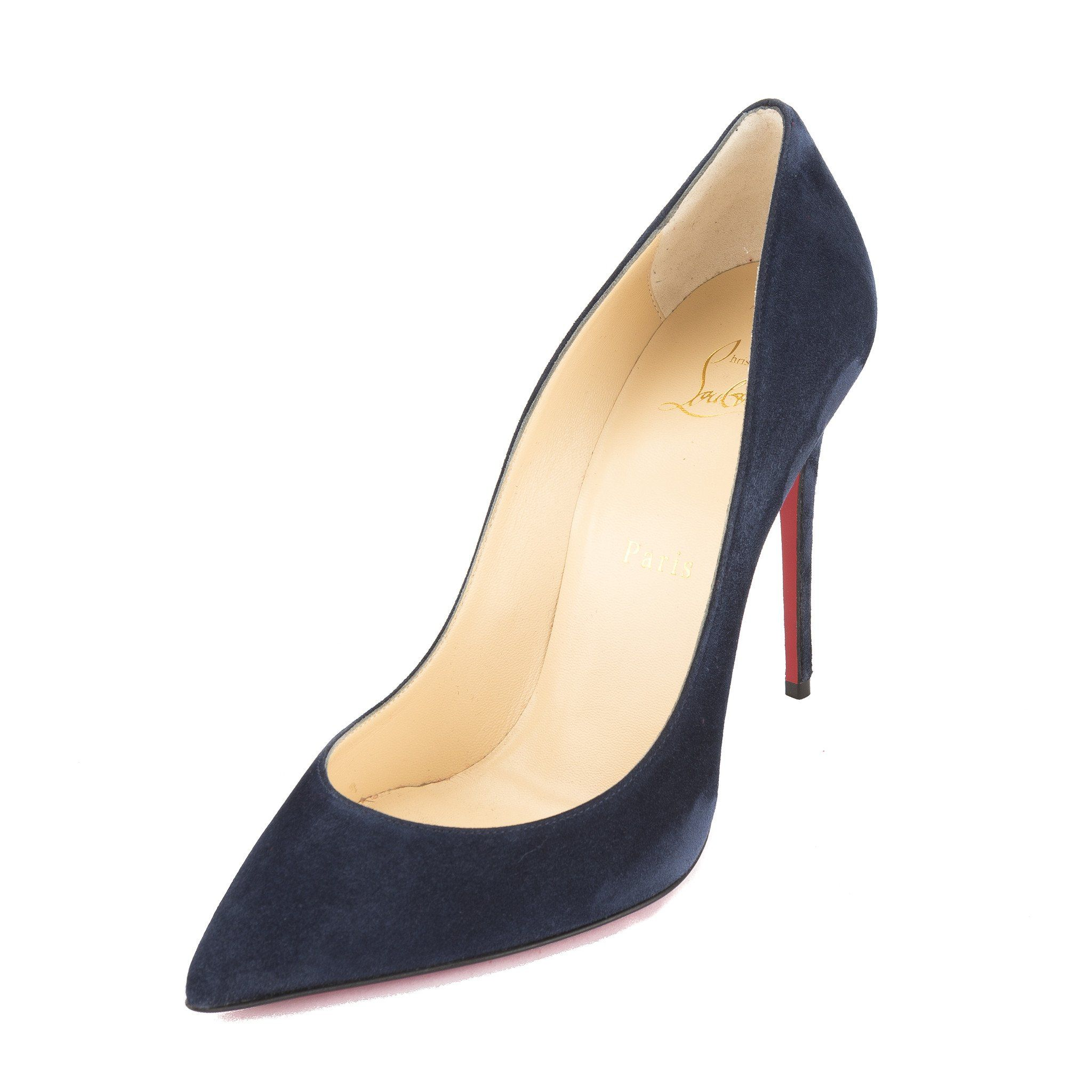 6c27cdd24ac7 Christian Louboutin Velour Blue Suede Pigalle Follies 100mm Pump (New with  Tags)
