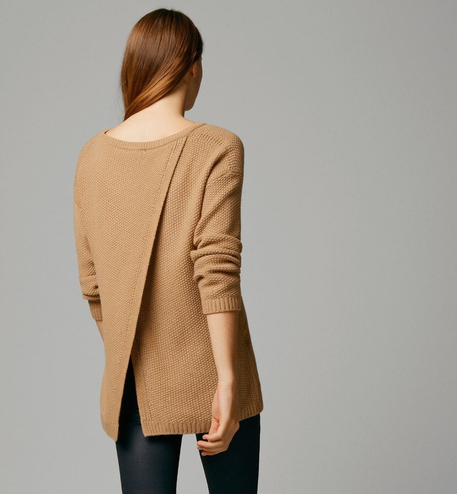 MASSIMO DUTTI(ZARA GROUP)SEMI-BOAT-NECK OPEN-BACK SWEATER COLOR ...