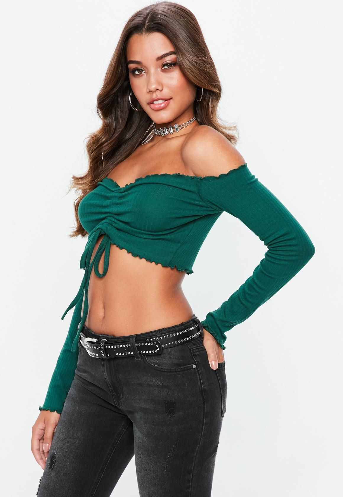 edb5700d5f3 Missguided - Green Ruched Front Frill Bardot Crop Top | Actresses