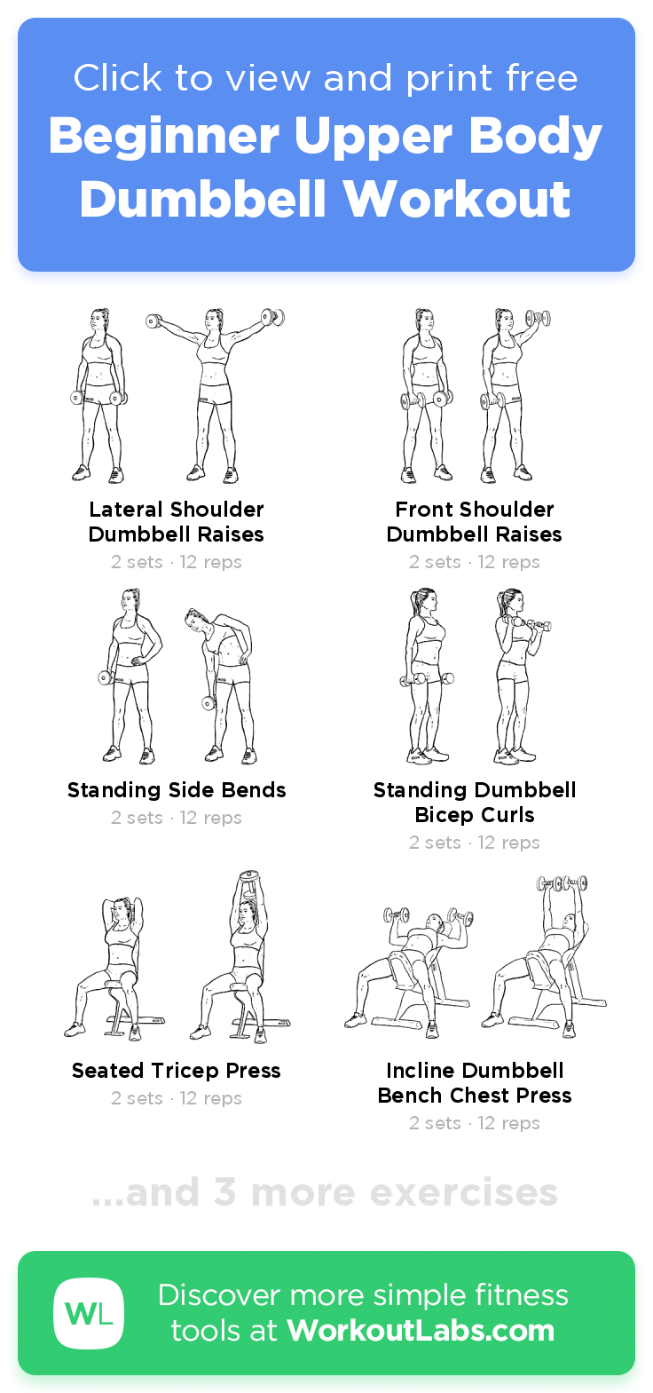 Beginner Upper Body Dumbbell Workout Click To View And Print This Illustrated Exerc Upper Body Dumbbell Workout Dumbbell Workout Upper Body Workout For Women