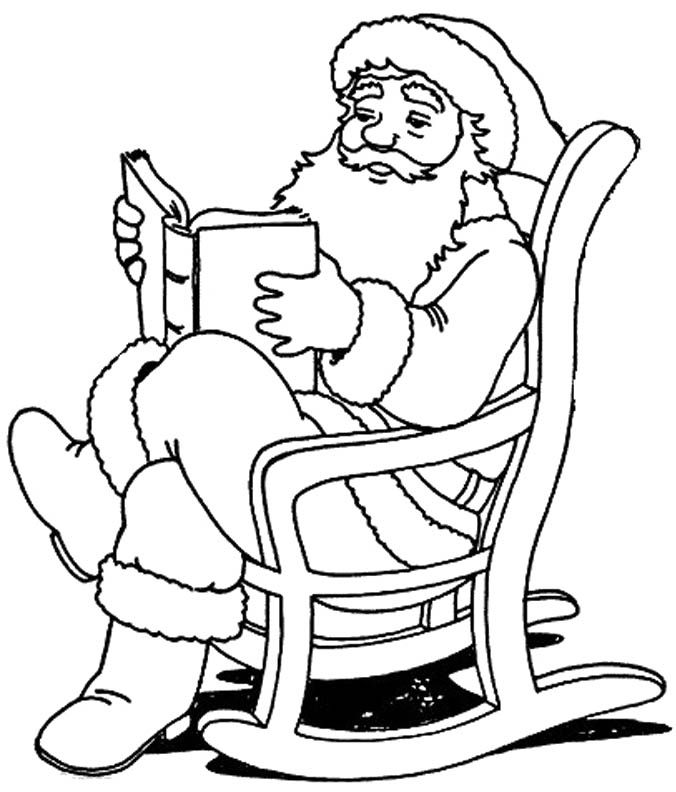 Santa Claus Reading Book Coloring Page   Christmas ...
