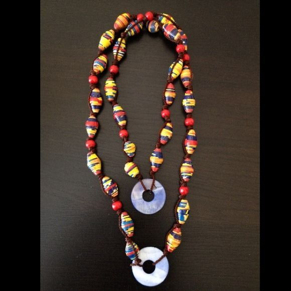 REDUCED Handmade Necklace - % Recycled mater Multi-colored beautiful and stylish necklace Jewelry Necklaces