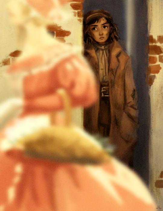 Jessica Liu/jeliumon's fanart of Eponine recognizing Cosette
