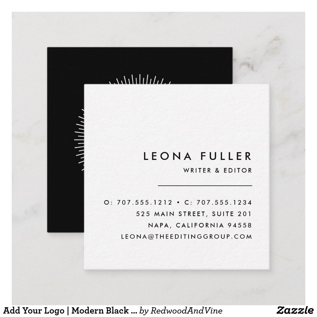 Add Your Logo Modern Black And White Square Business Card Zazzle Com Square Business Cards Design Square Business Card Minimalist Business Cards
