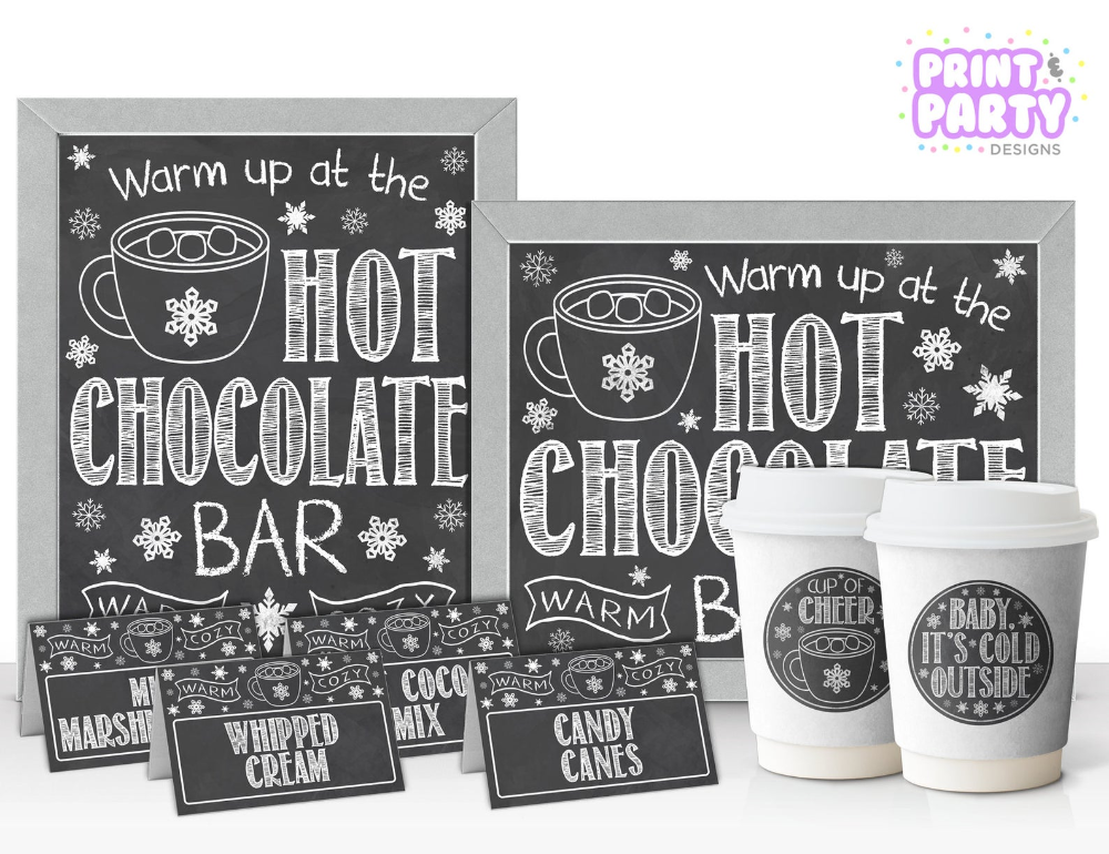 Printable Hot Chocolate Bar Kit, Office Holiday Party, Hot Cocoa Bar, Warm Up at the Hot Chocolate Bar, Winter Wedding, Instant Download #hotchocolatebar